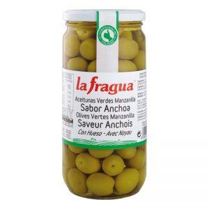 Aceitunas Sabor Anchoa. Variedad Manzanilla, Calibre 201-220, Calidad Primera